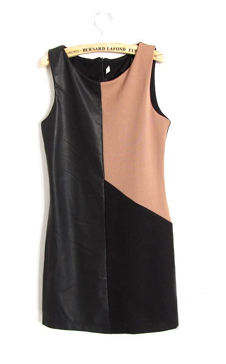 PU Black and Coffee Round Neck Sleeveless Tank Dress - Sheinside.com