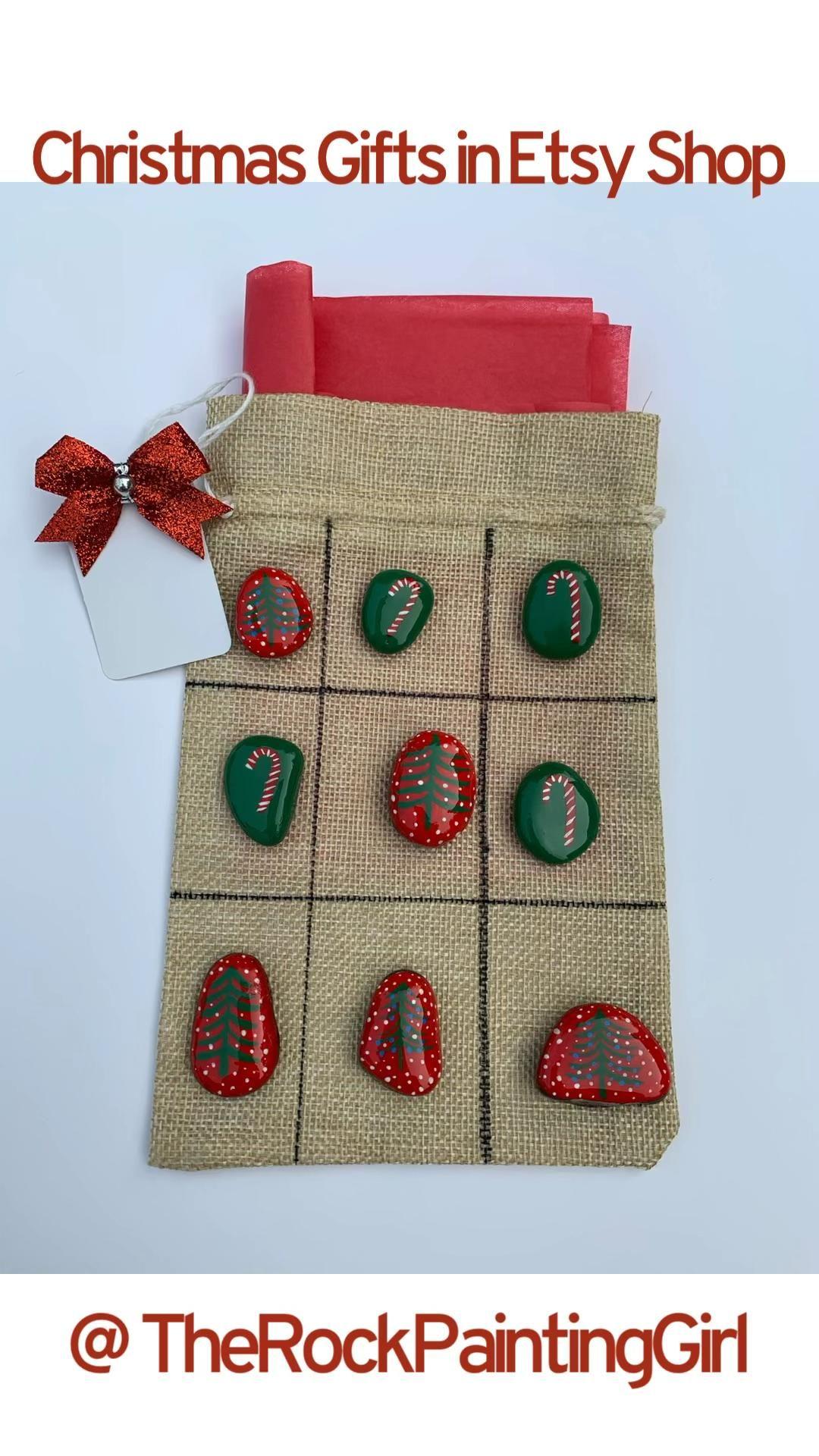 Mini Painted Rock Tic-Tac-Toe Set, Rock Painting, Painted Rocks, Christmas Gift