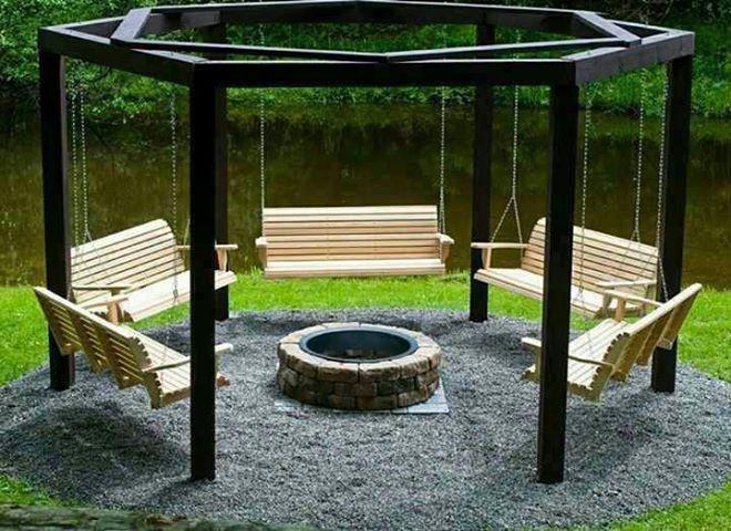 Swing Fire Pit Gazebo Backyard Fire Pit Swings Fire Pit Seating