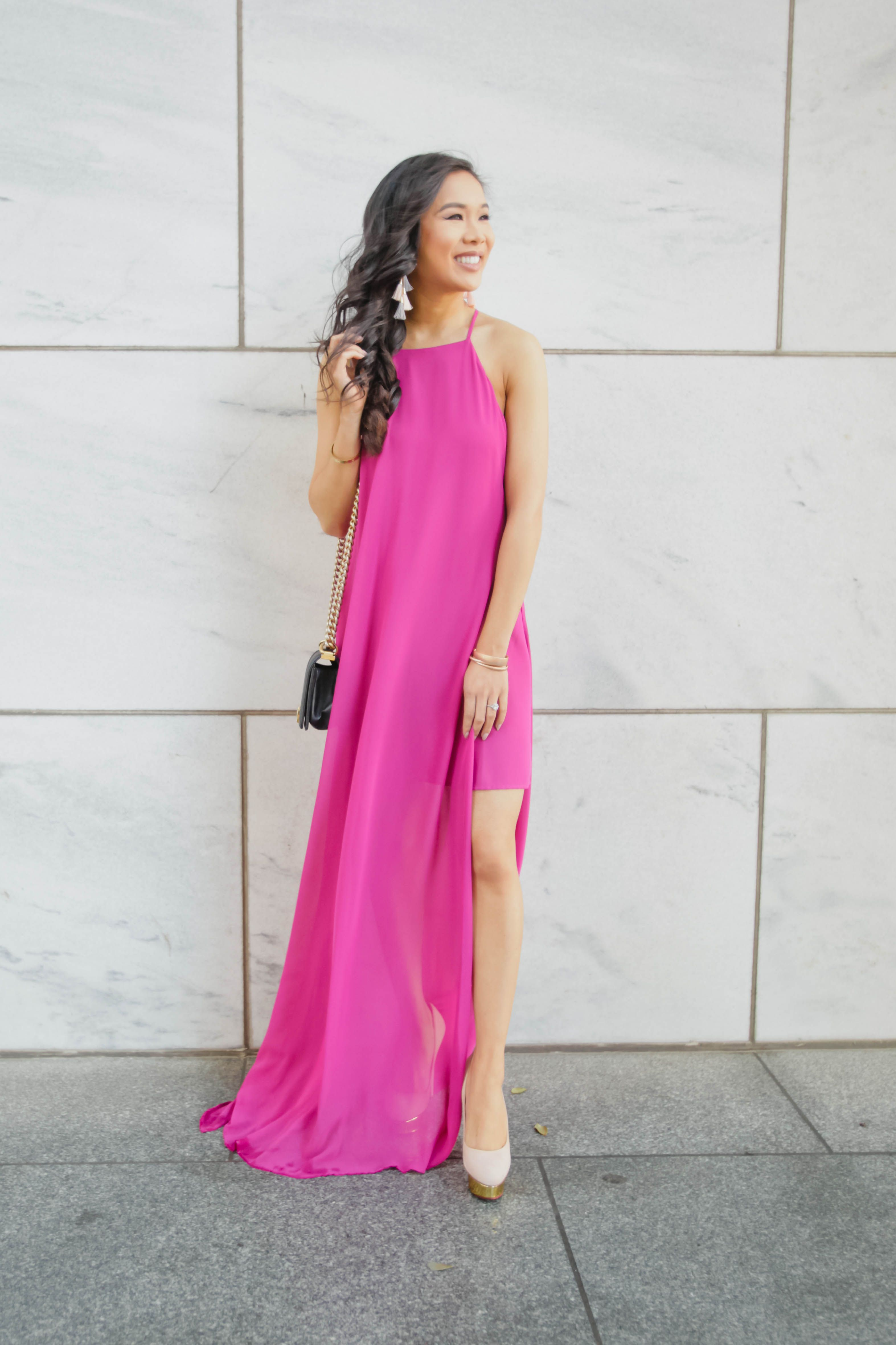 Fuchsia pop maxi dress perfect for spring and summer   Blogger Style ...