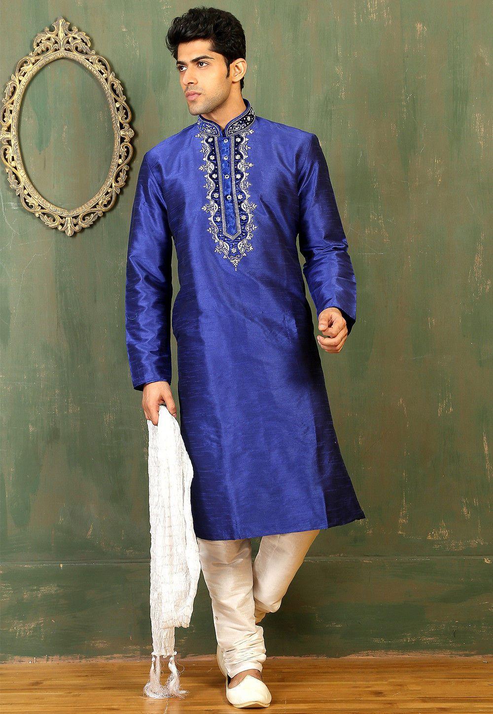 Buy plain dupion silk kurta set in blue onlineitem code mpw
