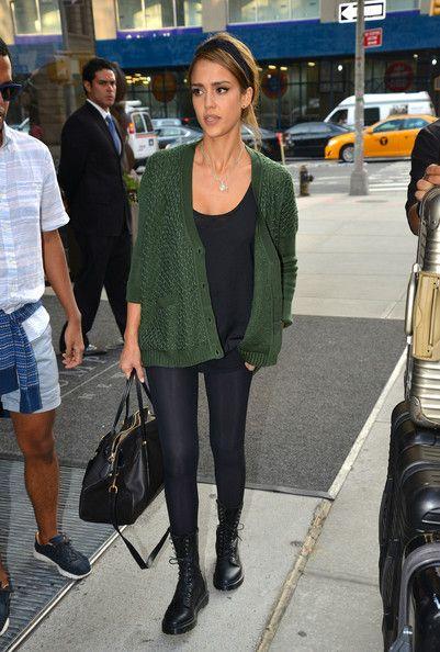e24fa51f521 Jessica Alba steps out in a green cardigan