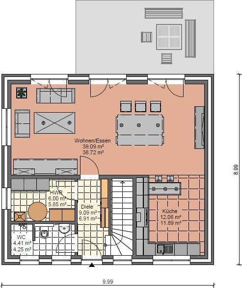 Haus mit Kapitänsgiebel Grundriss Erdgeschoss mit GästeWC