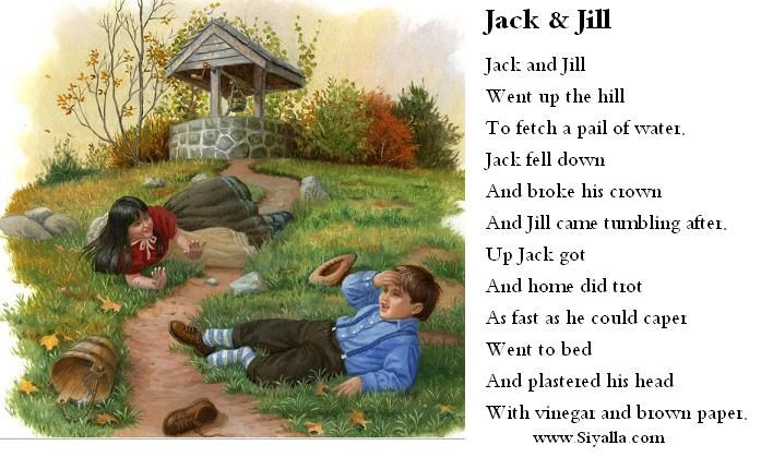 Jack And Jill Nursery Rhyme Rhymes Kids Poems From Siyalla