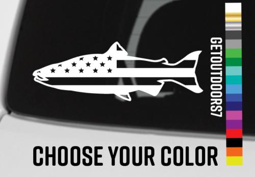 "Salmon Decal Sticker USA Flag 5.5/"" American Sage Redington Fishing Simms XO"