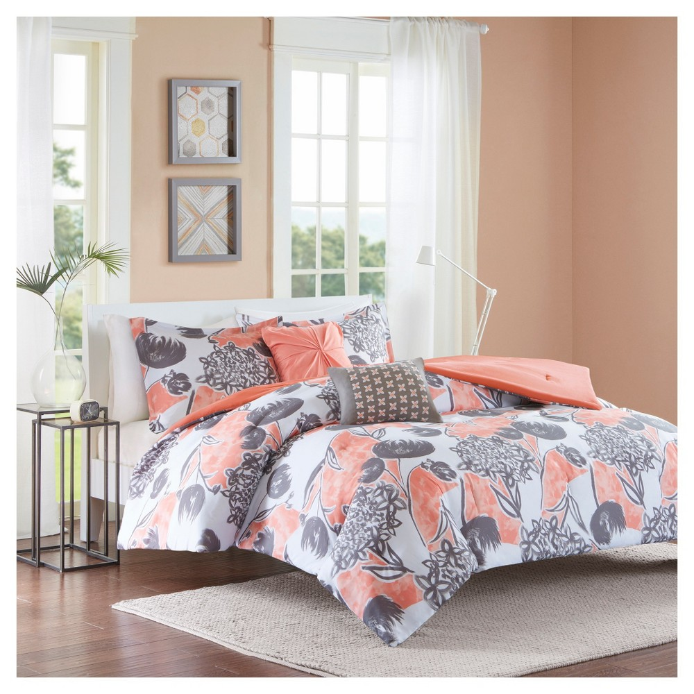 Vera Comforter Set (Twin/Twin Extra Long) 4pc Coral