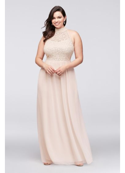 923e4802c22 High-Neck Chiffon Plus Size Gown with Ladder Back W35241H232 ...