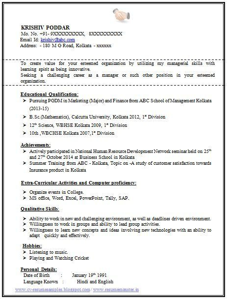 Fresher Mba Resume 100 + Resume Format For Experienced Sample Template Of A  Fresher .