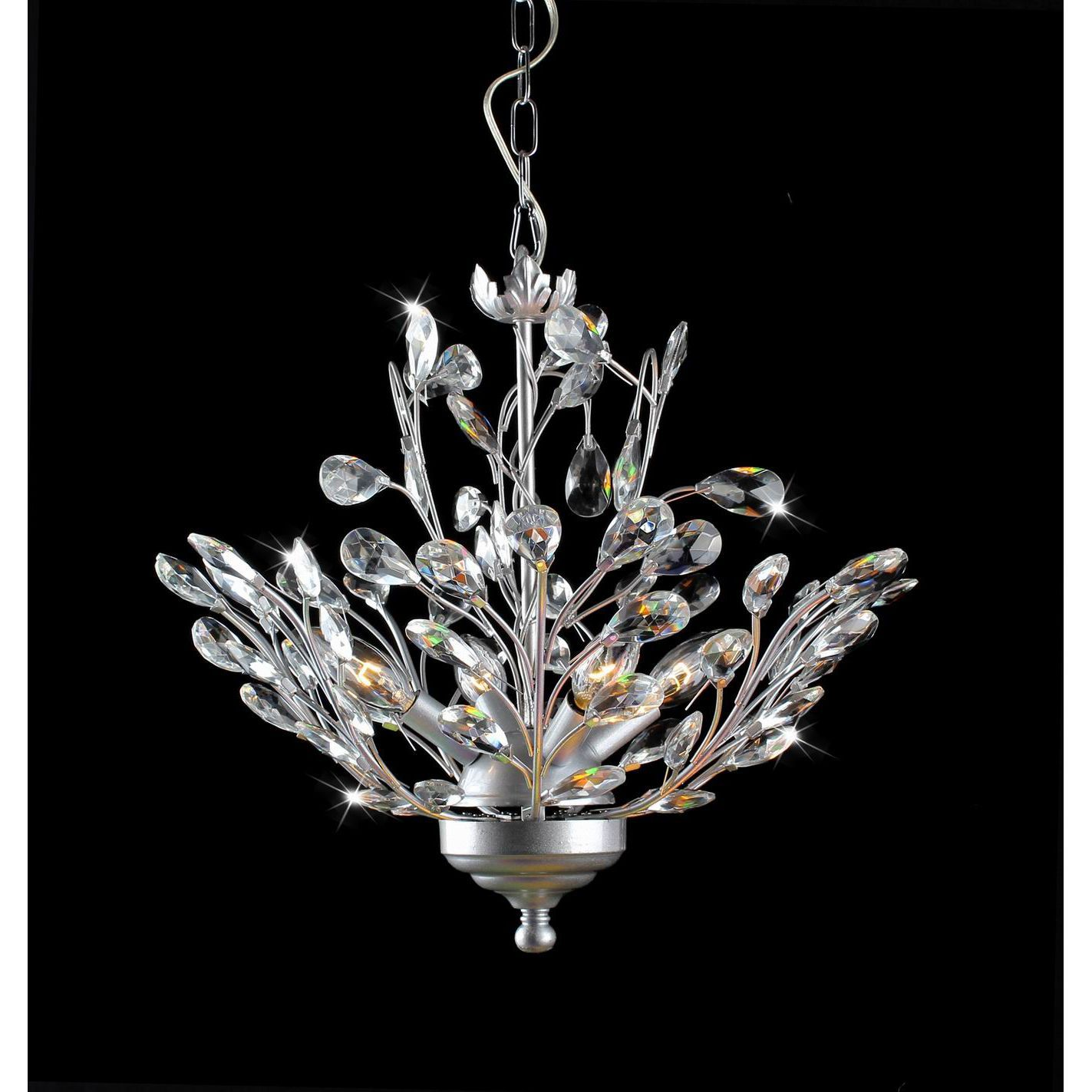 Holly 4 Light Silver And Crystal Leaves Chandelier Silver