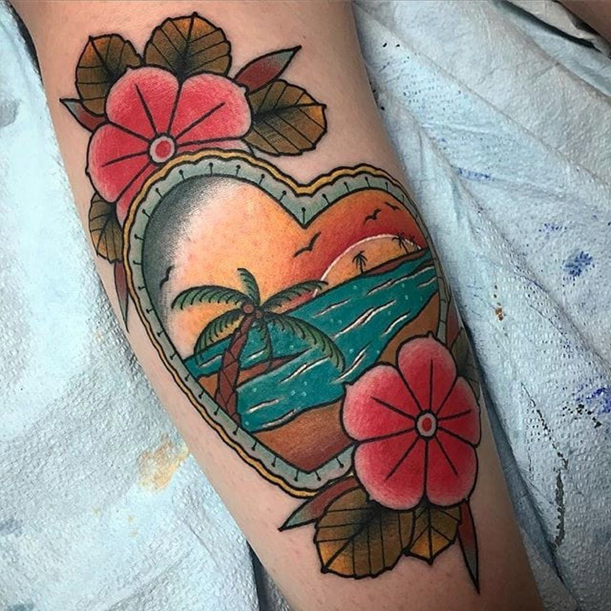 cc0ddc0516aeb Beach tattoo by Cory Connel. #beach #summer #paradise #ocean #vacation  #getaway #heart