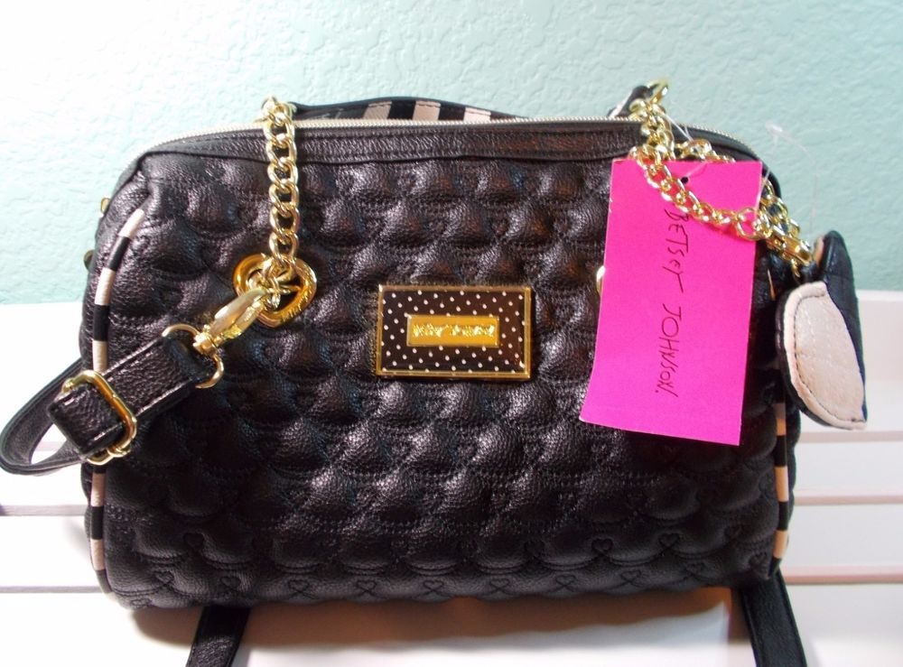 Betsey Johnson Medium Barrel Satchel Handbag Shoulder Bag Quilted Swag Heart Nwt