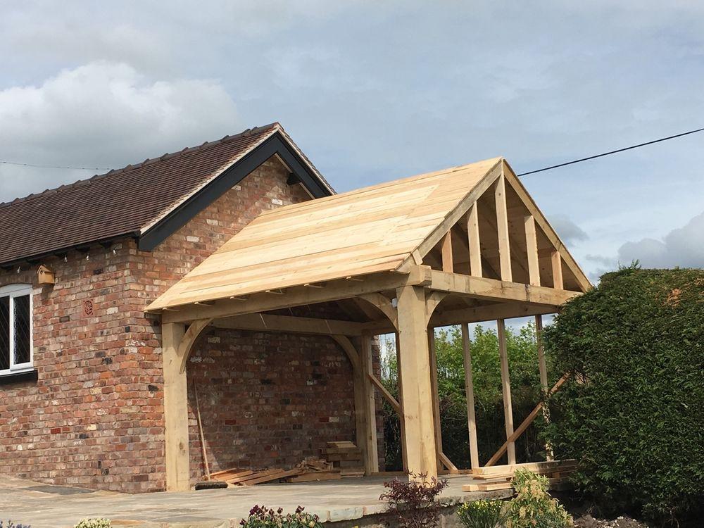 Image result for single attached oak car port Wooden