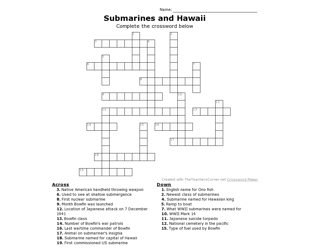 Submarine Printable Crossword Puzzle For All Ages Whether You Have Visited Bowfin Plan To Or
