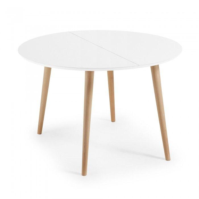 Oqui Tavolo allungabile rotondo 120-200 cm naturale e bianco ...