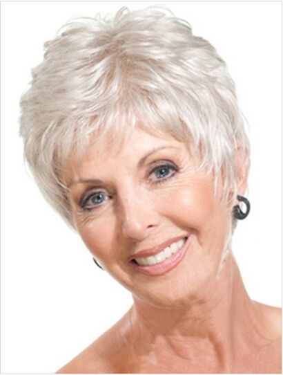 Old Lady Hairstyles Simple Short Straight Mother Gray Hair Wigs Fashion Heat Resistant