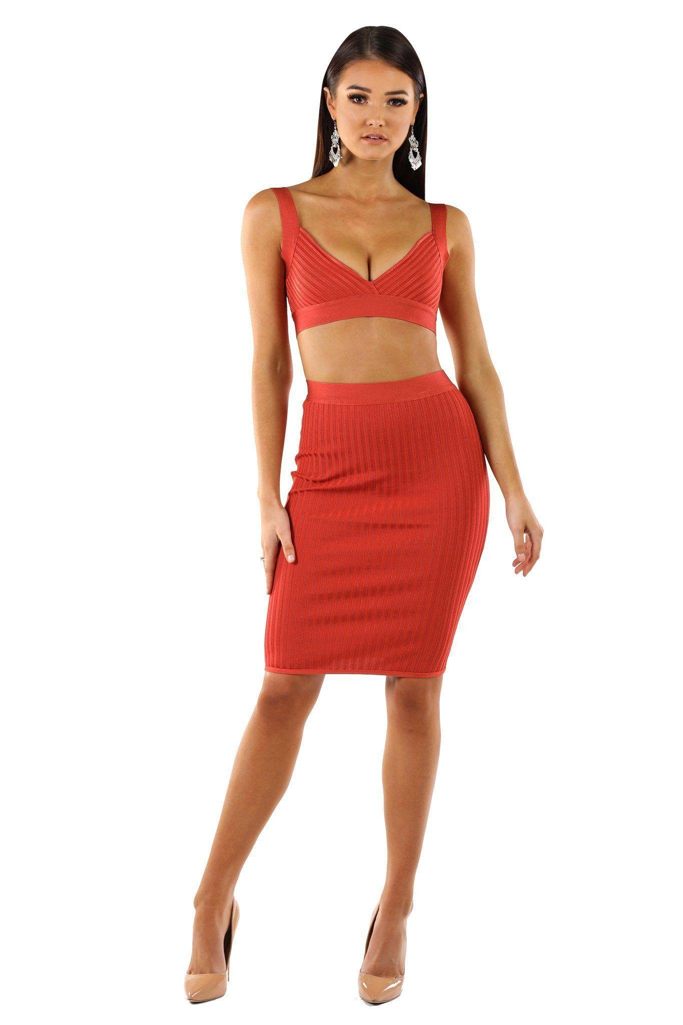 b3ad9f8443 London Ribbed Bandage Two-Piece Bandage Dress Set - Burnt Orange by Noodz  Boutique