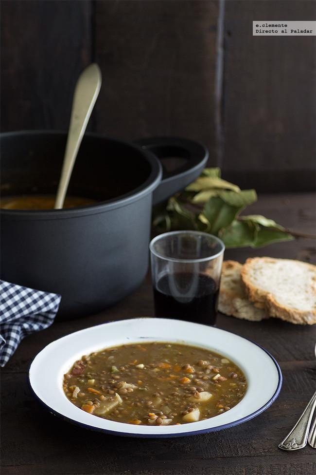 Lentejas guisadas. Receta de cocina fácil, sencilla y deliciosa