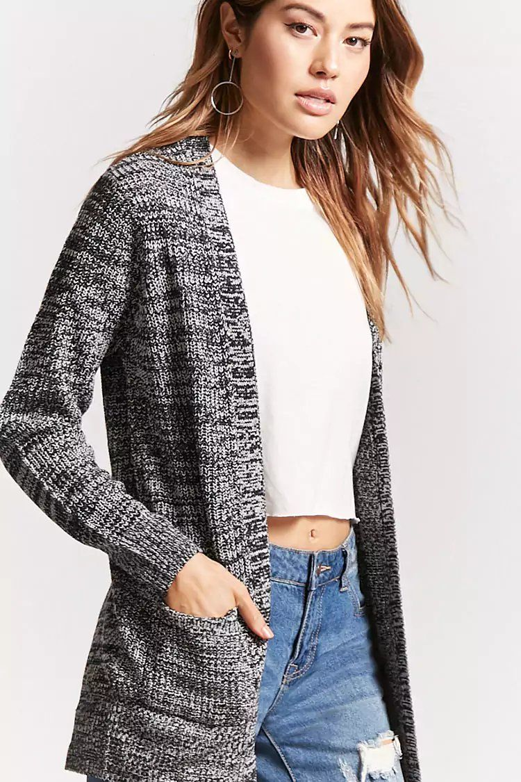Product Name Marled Ribbed Open-Front Cardigan ddbffc775