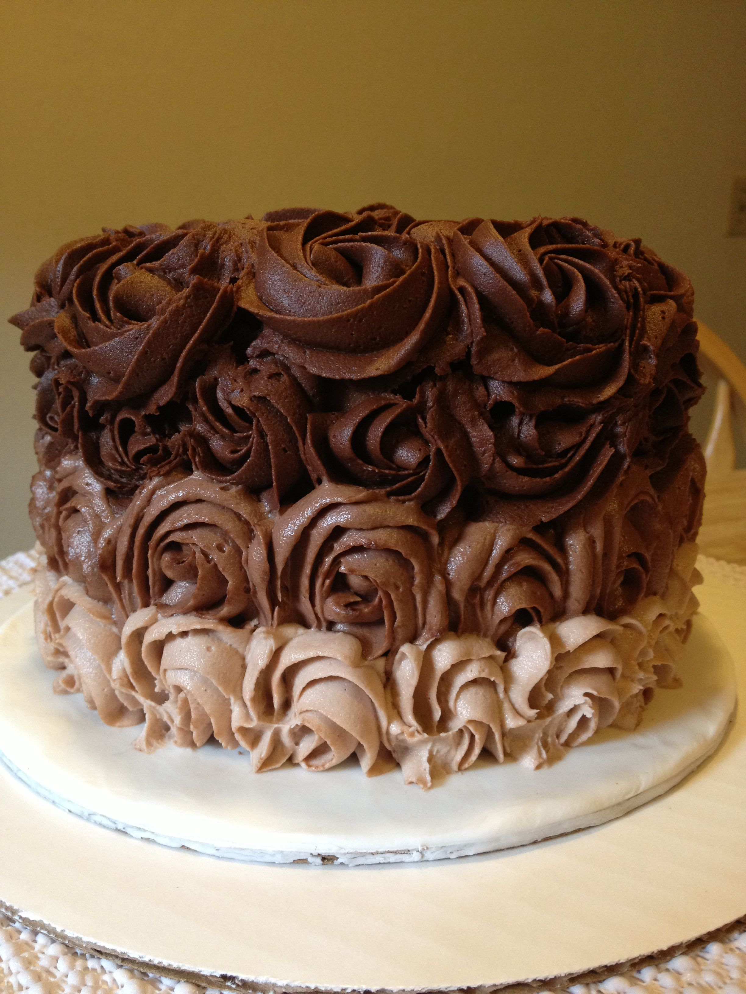 Chocolate ombr rose piped cake  Wilson Cakes and Events