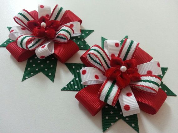 Christmas Poinsettia Red and Green Hair Bows for by Pinnwheel, $8.50 #hairbows
