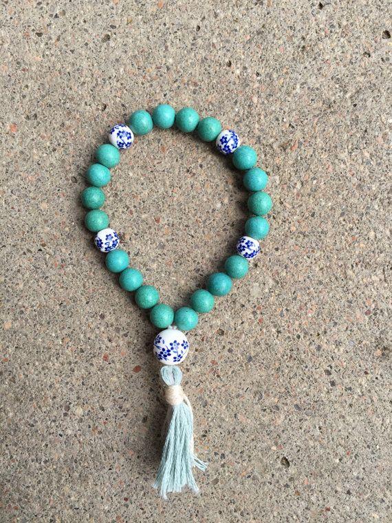CALM Blue Magnesite and China Mala Bracelet with by ZoeZella