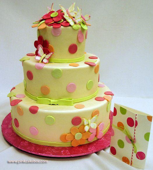 Flower and Polka Dot Birthday Cake Birthday Ideas Pinterest