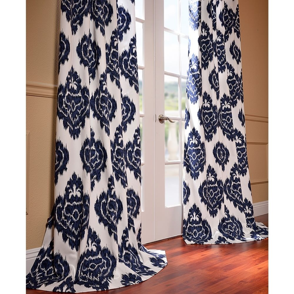 Ikat Blue Printed Cotton Curtain Panel | Overstock.com Shopping   The Best  Deals On