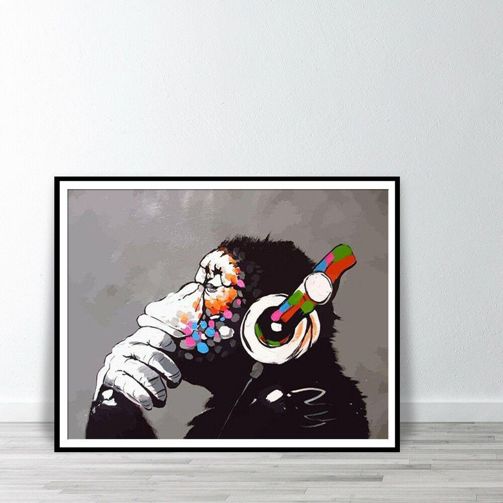Banksy Monkey With Headphones Listening To Music Earphones Wall Art Canvas Print Canvas Art Ideas Of Canvas Art Canvas Art Prints Banksy Monkey Banksy Art