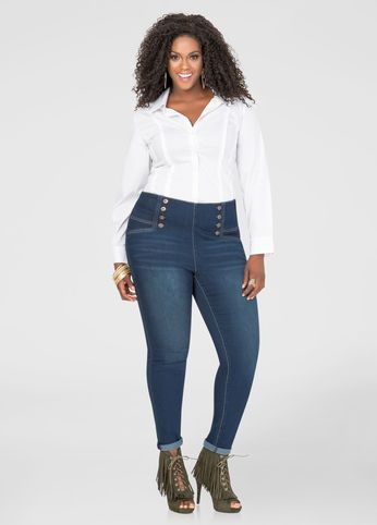 White high waisted skinny jeans plus size