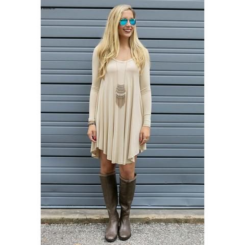 88ddd904d6 Baggy Comfy Loose Long Sleeve Dress Women V Neck Swing Flowy Short Casual  Tunic Shirt Mini T Shirt Dress Plus Size Dresses