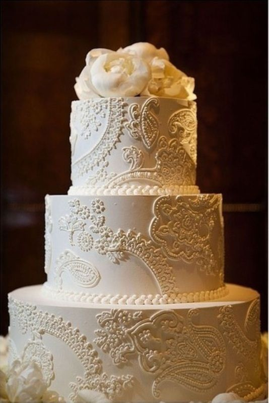 Lovely Vintage Lace Inspired Cake   LOVE This! Wedding Anniversary Cake Some Day?