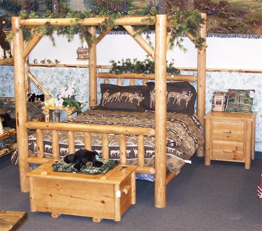 This Log Canopy Bed Will Bring Some Rustic Charm Into Your Bedroom