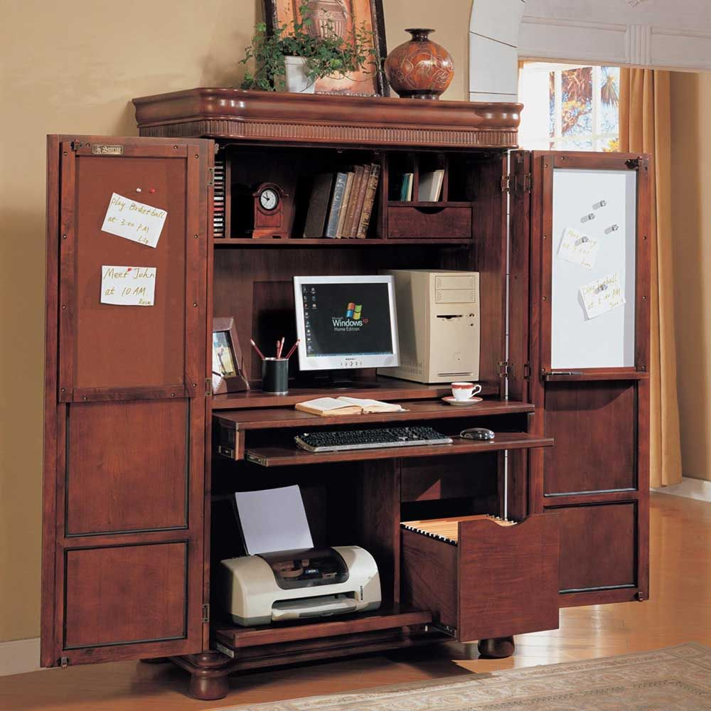 Apartments: Amazing Teak Wook Armoire Computer Furniture Design With Double  Leaf Door And Keyboard Desk Tray, computer desk with hutch and drawers, ...