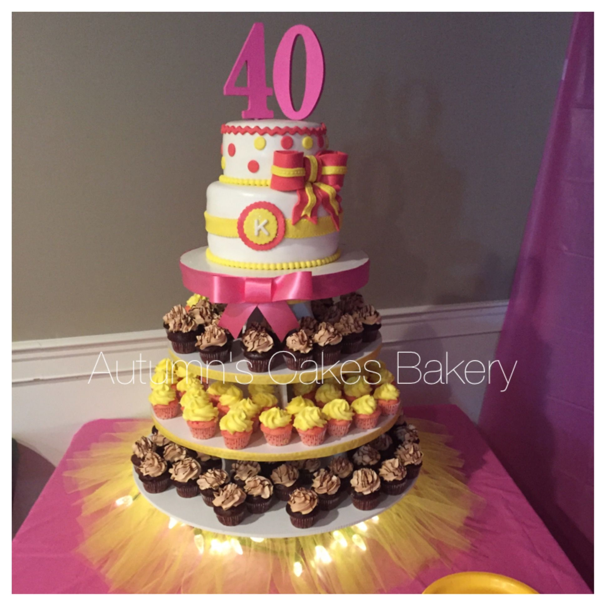 Remarkable 40Th Birthday Cake Cupcake Combo Pink Yellow Theme Chocolate Funny Birthday Cards Online Elaedamsfinfo