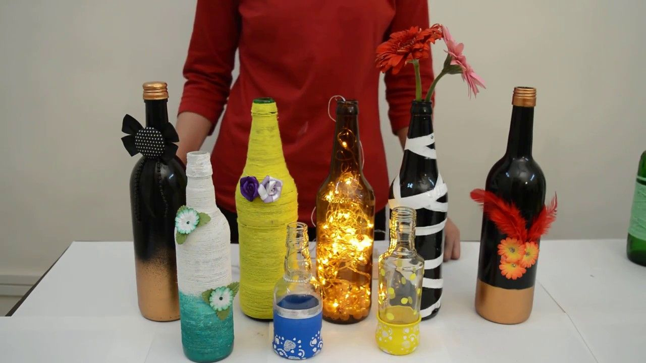Welcome To Our Brand New Series Floma Diy Projects In The First Video Of This Series Ms Ashwini Rathi Will Bottle Crafts Wine Bottle Crafts Craft Presents