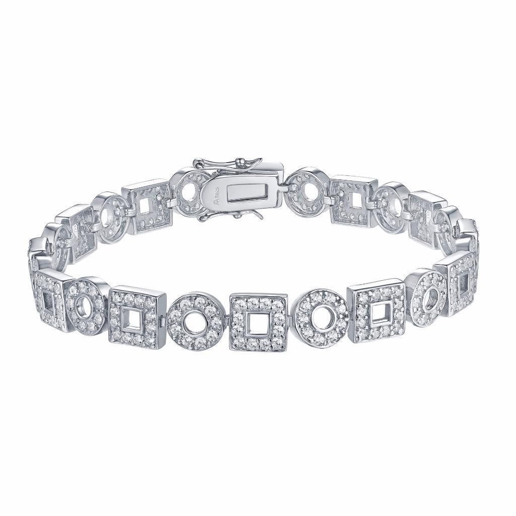 Square round link bracelet white gold over sterling silver squares