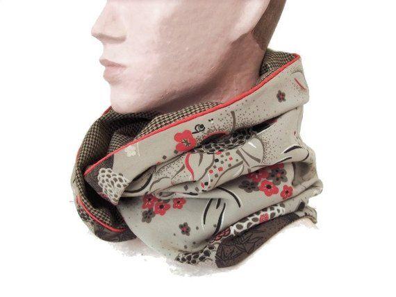 7222601dc726 snood femme beige tissu japonisant , echarpe infinie reversible en lainage  et tissu fleuri , tour
