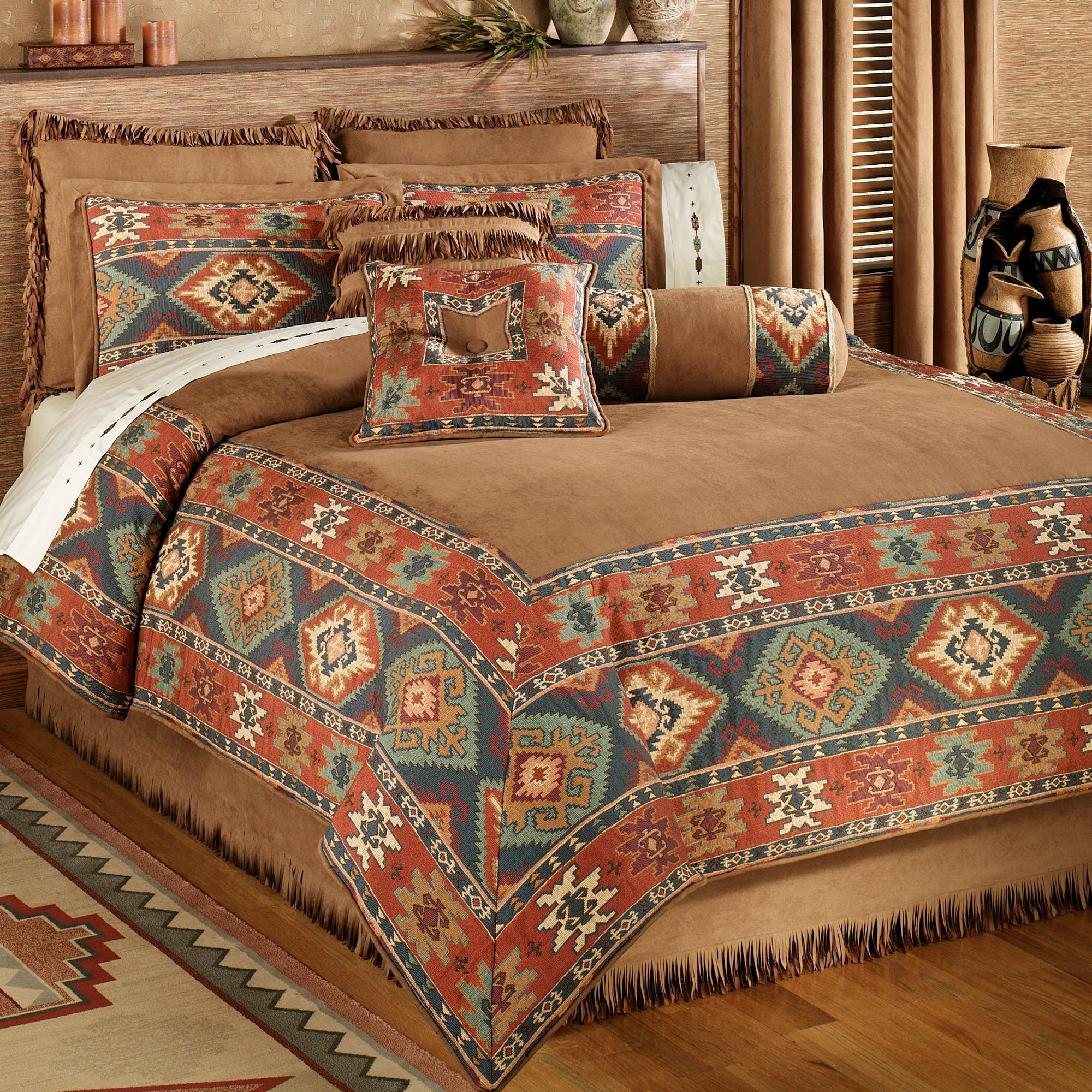 Canyon Ridge Comforter Bedding is part of Southwestern decorating - The rustic, polyester Canyon Ridge Comforter Bedding evokes the spirit of the Southwest  Oversized comforter has a saddle brown, faux suede center