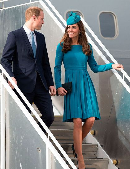 William and Kate touch down in Dunedin airport, New Zealand. Kate wears Emilia Wickstead dress with hat by milliner Jane Taylor, with a diam...