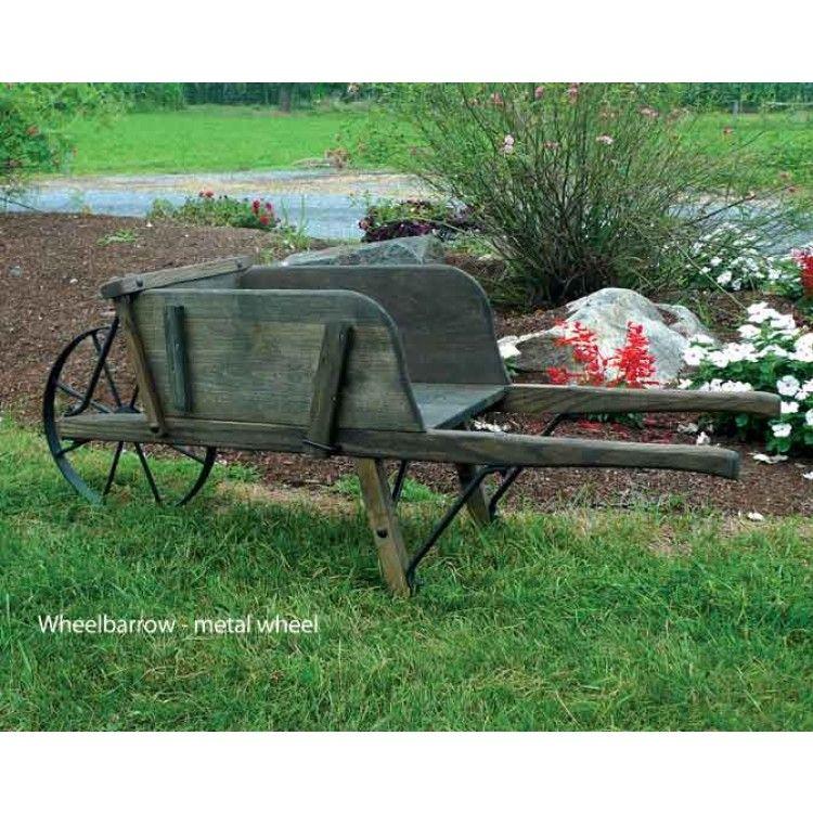Wood Wheelbarrow: Amish Large Rustic Wooden Wheelbarrow With Removable