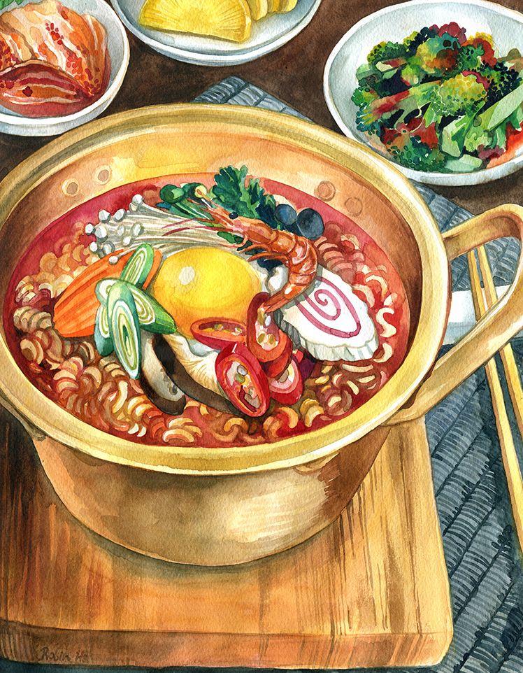 Ramen 8 5 X 11 High Quality Giclee Print Food Artwork Cute Food Art Food Painting
