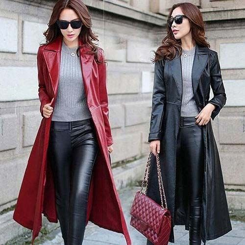 Fashion Womens Long leather Trench coat Dress Slim Fit Outwear Lapel Punk Jacket