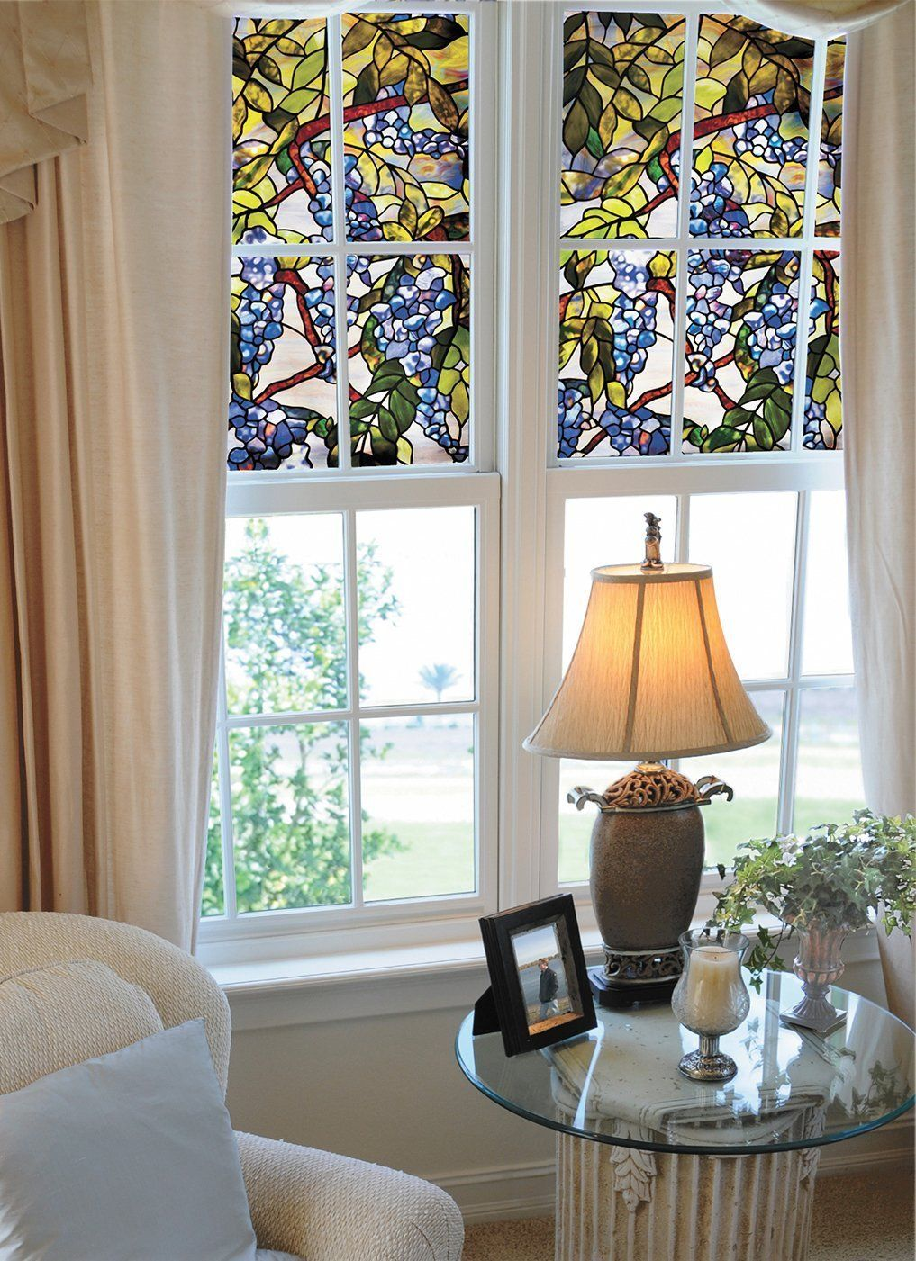 interior faux stained glass window film to the top of the glass window and windows with frames. Black Bedroom Furniture Sets. Home Design Ideas