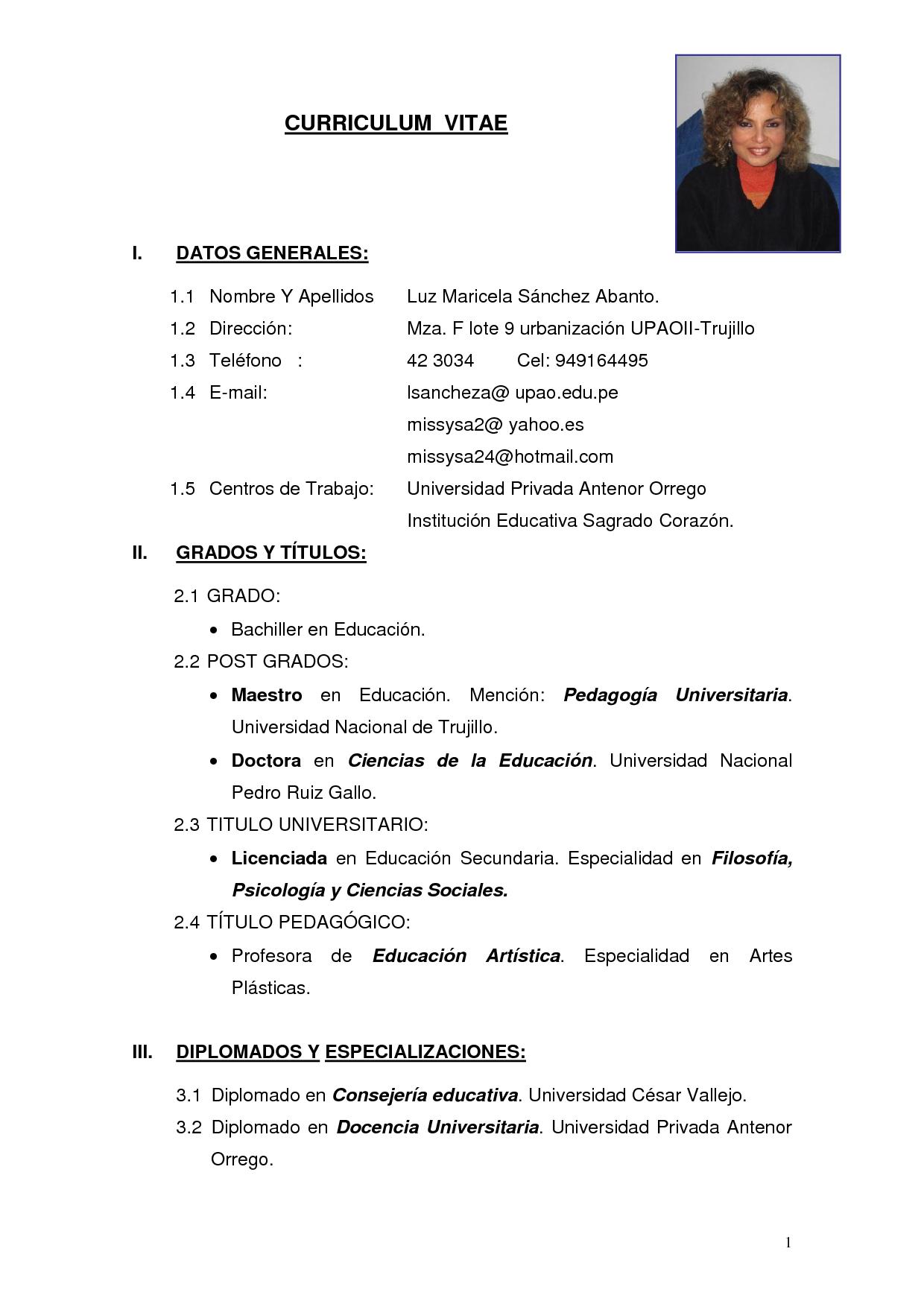 Modelo De Curriculum Vitae Modelo de curriculum vitae