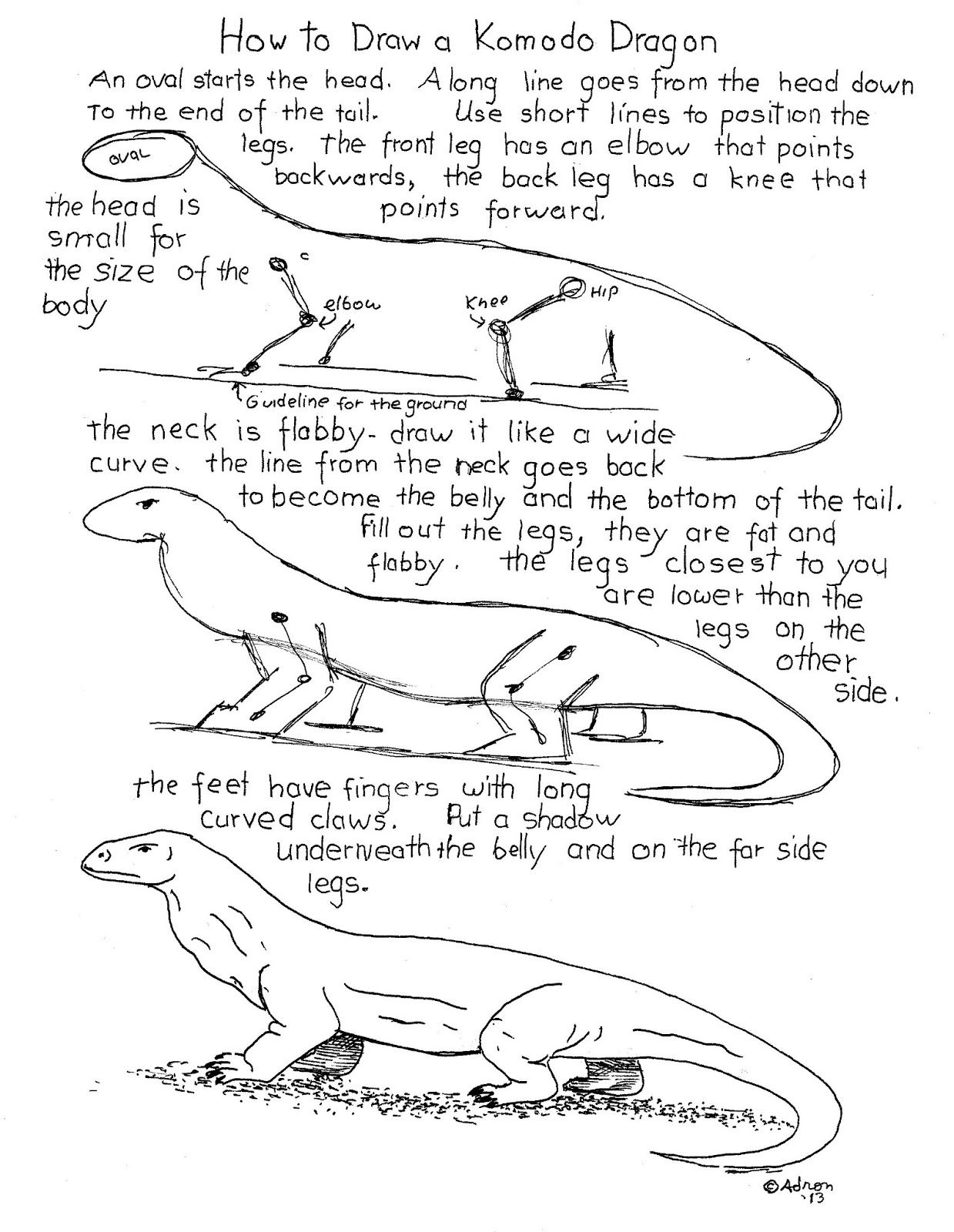 How To Draw A Komodo Dragon Worksheet See The Blog For Projects