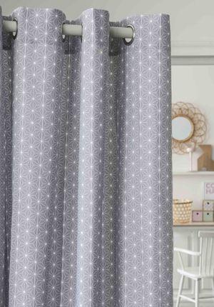 Rideaux coton gris imprimé scandinave finition oeillets 24e | Appart ...