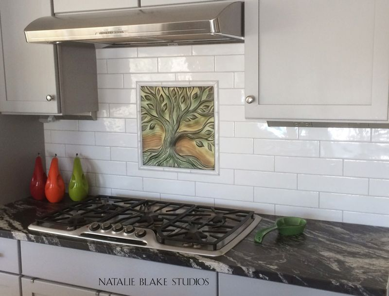 Porcelain Tree Of Life Backsplash Art Tile Ready To Grout In Place With Your Field Custom Designs All Handmade Vermont At Natalie Blake