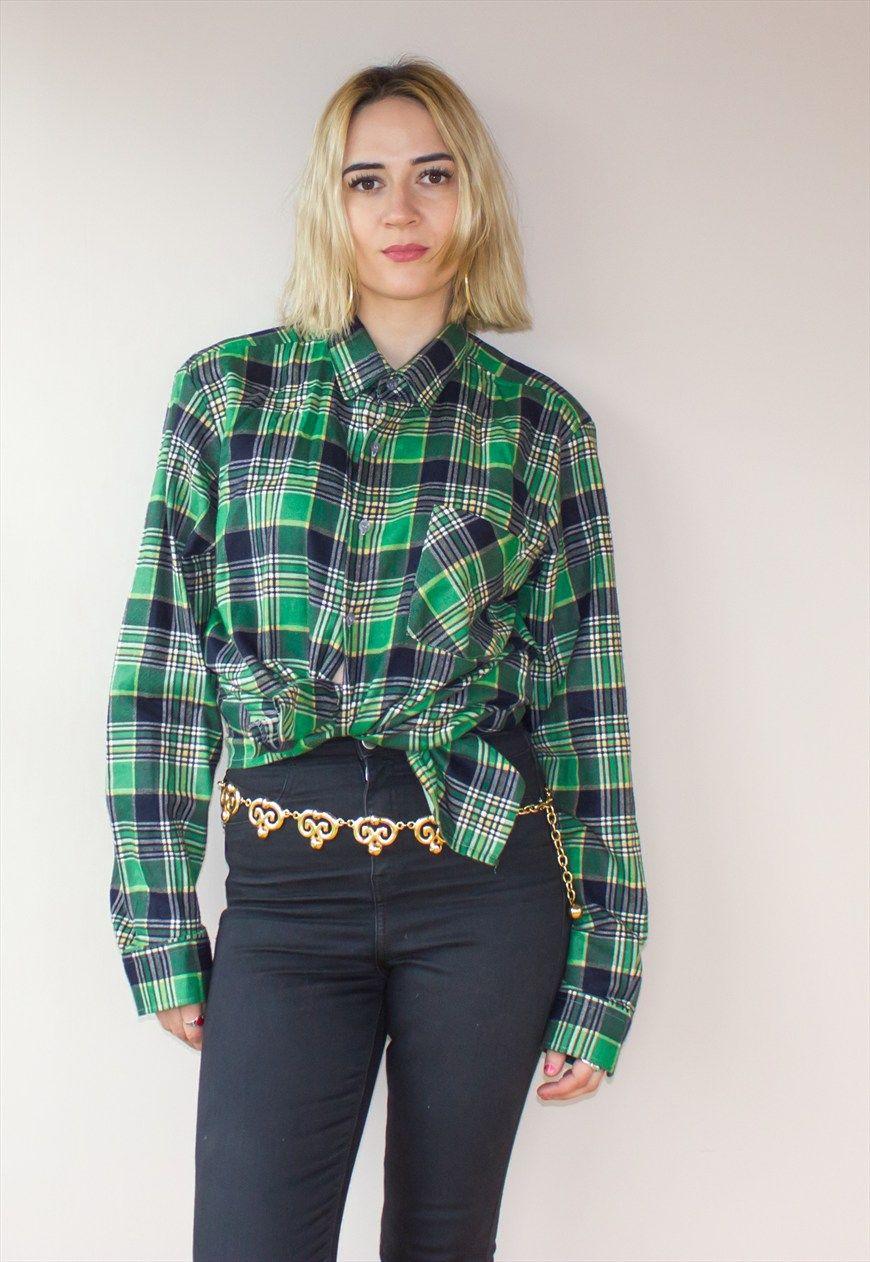 Grunge flannel outfits  Vintage Green Check Flannel Grunge Shirt  Florrie Janes Vintage