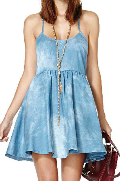 abaday | abaday Washed T-shaped Strips Blue Dress, The Latest Street Fashion