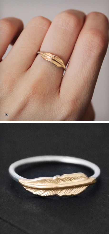 Adorable Feather Ring..I would like silver instead.